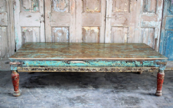 19th Century Temple Day Bed, Gujarat with faded blue paint tones <b>SOLD